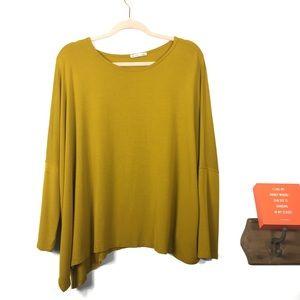 Zara Mustard Yellow Dolman Style Asymmetrical Top